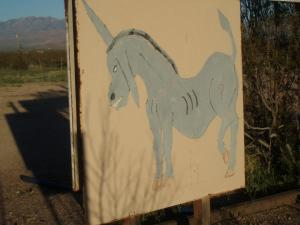 "Yea... that's a ""Donkicorn"" - For no apparent good reason, I found this sign up on the side of the road in the middle of the desert, somewhere near the southwest of the state of Arizona."