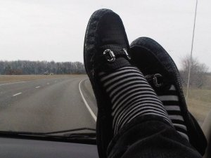 Somewhere in Missouri... (I don't recommend feet on the dashboard of modern vehicles with airbags. I only put my feet up for the sake of the photo, as it isn't safe)